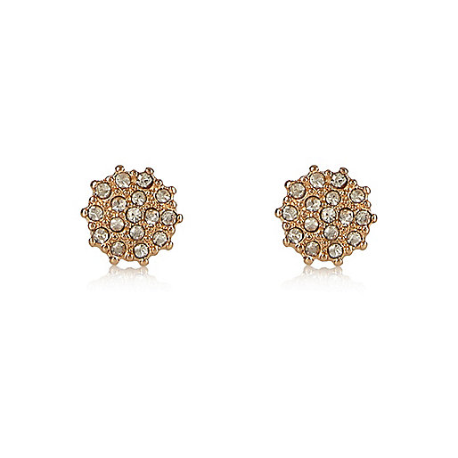 Gold tone sparkling stud earrings