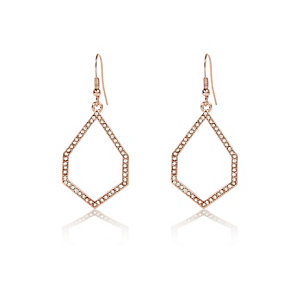 Rose gold tone diamanté dangle earrings