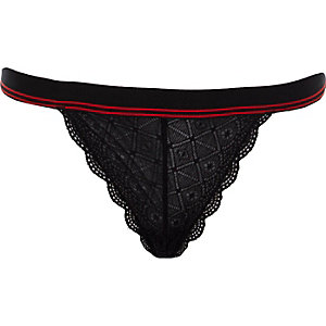 Black tipped lace briefs
