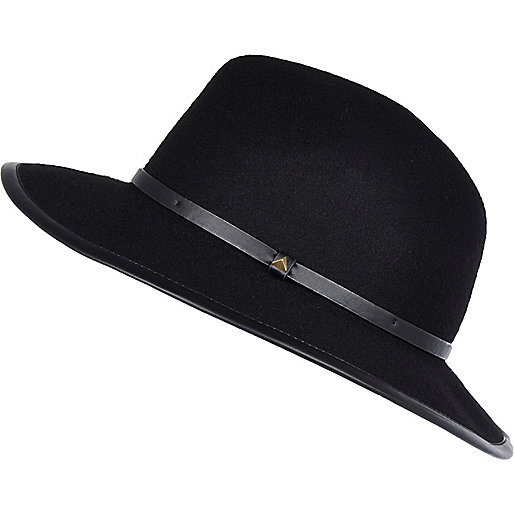 Chapeau fedora noir à bords contrastés
