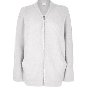 Light grey fluffy bomber jacket