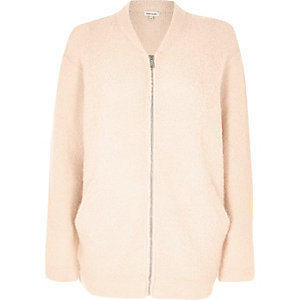 Blush pink fluffy bomber jacket