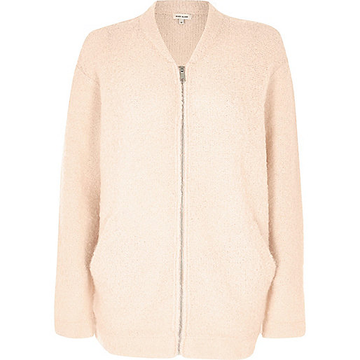 Blush pink fluffy bomber jacket