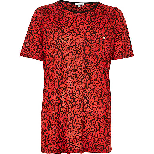 Red leopard print boyfriend T-shirt