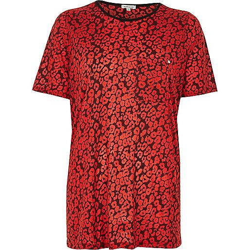 T-shirt boyfriend imprimé léopard rouge