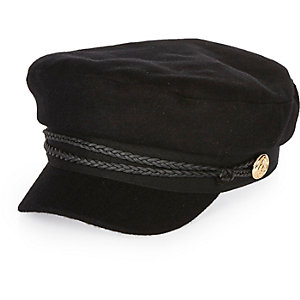 Black wool captain's cap