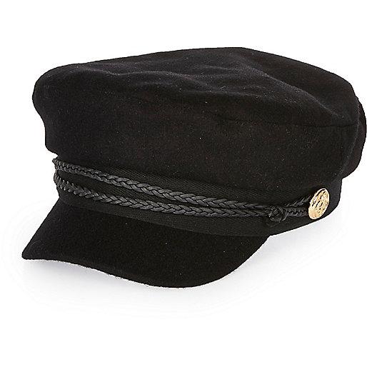 Casquette de capitaine en laine noire