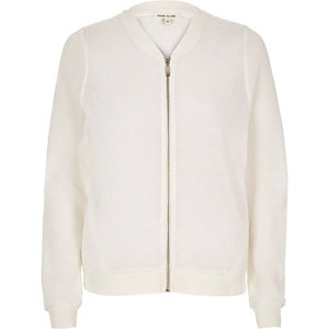 Metallic white bomber jacket