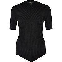 Black ribbed high neck bodysuit