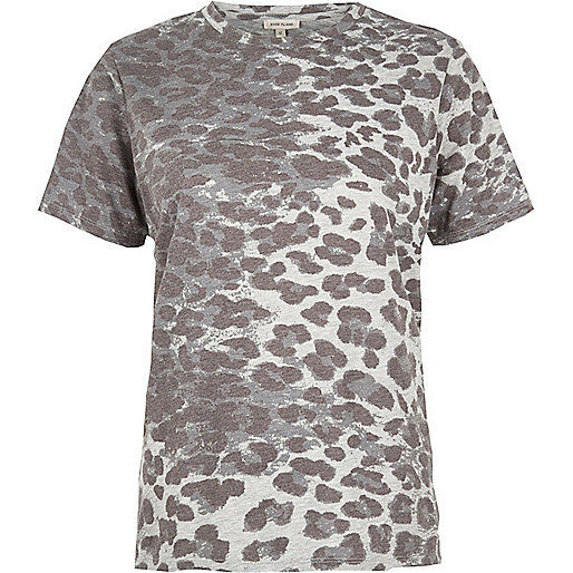 Brown leopard print boyfriend T-shirt