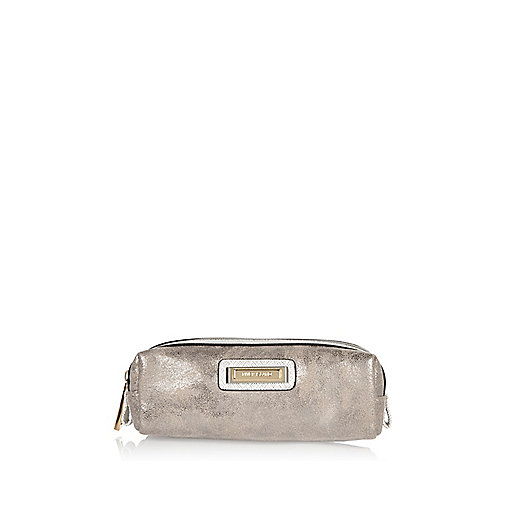 Silver  soft brush make-up bag
