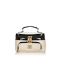 Beige patent color block vanity case