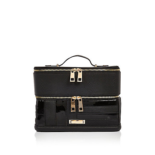 Black patent panel vanity case