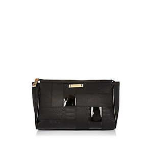 Black panel make-up bag