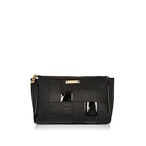 Black panel make-up bag