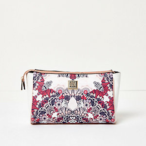 Pink floral print make-up bag