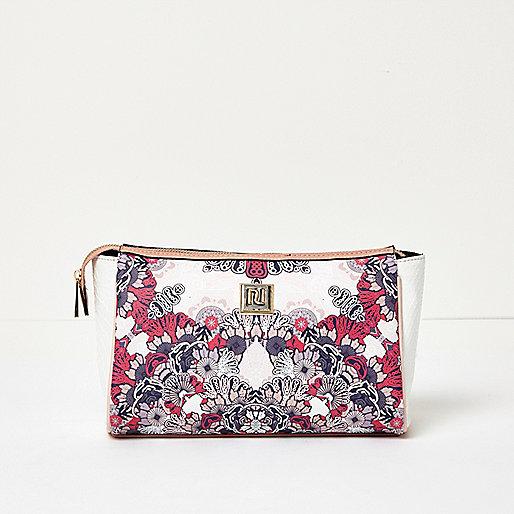 Pink floral print make-up bag