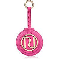 Porte-clés rose griffé à miroir