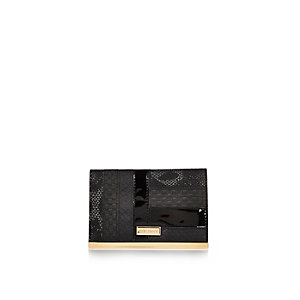 Black patent panel passport holder