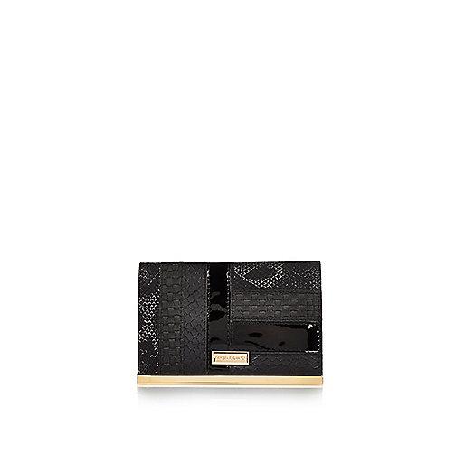 Black patent panel passport holder
