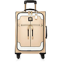 Beige colour block suitcase