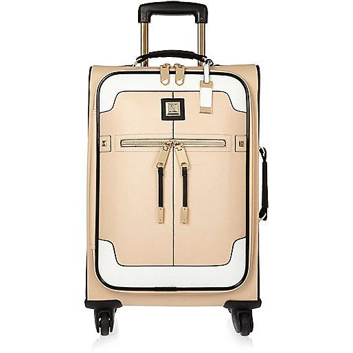 Beige colour block suitcase