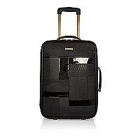Black patent panel suitcase