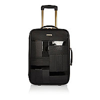 Black patent panel suitcase