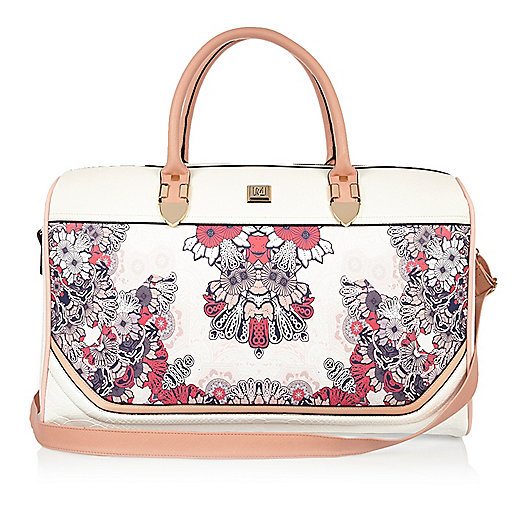 Pink floral print weekend bag