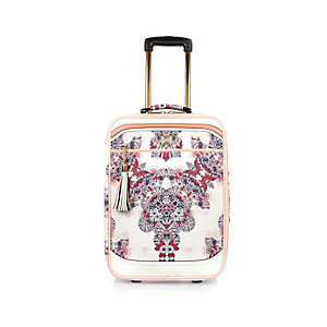 Pink floral suitcase
