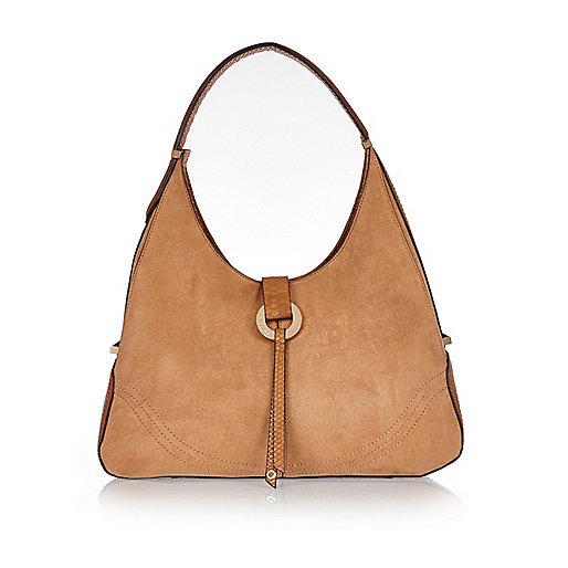 Tan hoop slouch handbag