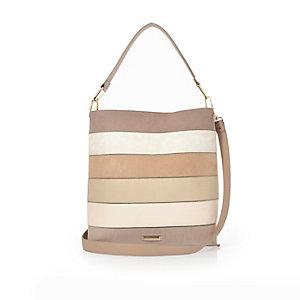 Light pink panel bucket handbag