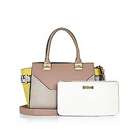 Grey winged tote handbag and clutch