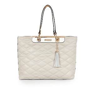 Cream quilted shopper handbag