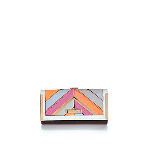 Neon stripe clip top purse