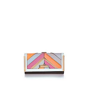 Neon stripe clip top purse