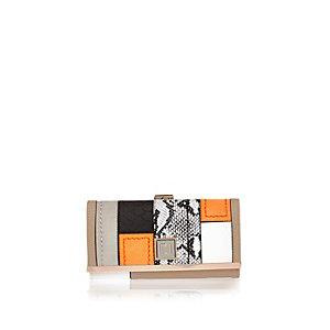Orange snake print clip top purse