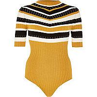 Yellow stripe high neck bodysuit