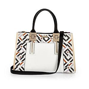 White embroidered large tote handbag