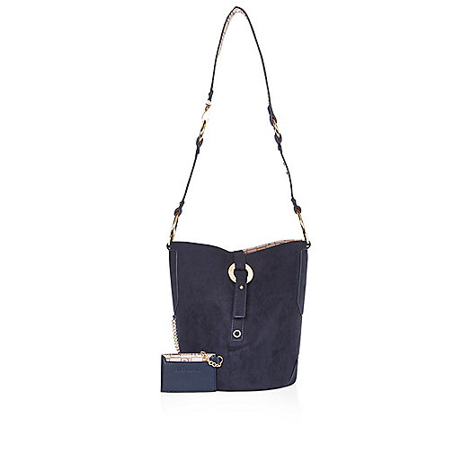 Navy bucket handbag