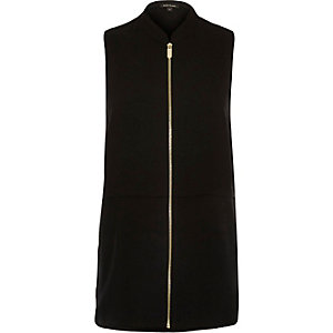 Black sleeveless zip through shirt