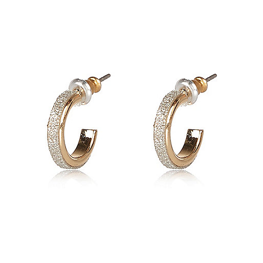 Gold tone glittery sleeper hoop earrings