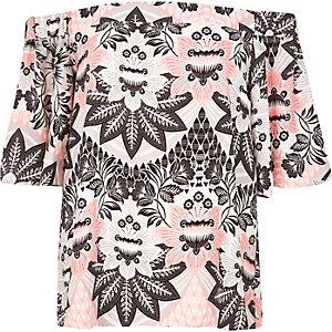 Pink print bardot top
