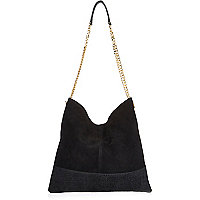 Black suede chain handbag