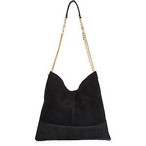 Black suede chain bag