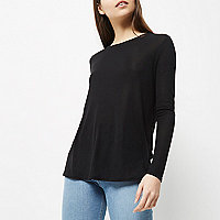 Black soft jersey top