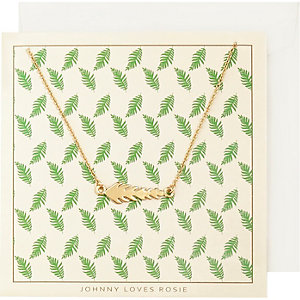 Johnny Loves Rosie gold plated leaf necklace