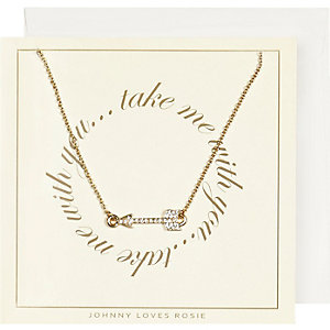 Johnny Loves Rosie gold plated arrow necklace
