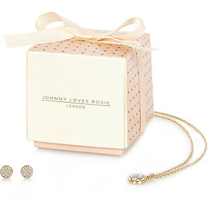 Johnny Loves Rosie rhinestone necklace gift set