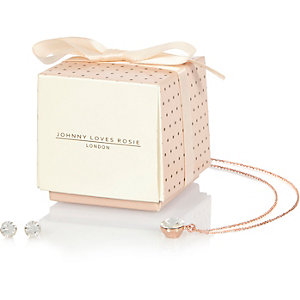 Johnny Loves Rosie crystal necklace gift set